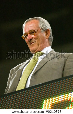 BARCELONA - AUGUST 17: Xavier Trias, mayor of Barcelona city, during the Spanish Super Cup final match between FC Barcelona and Real Madrid, 3 - 2, on August 17, 2011 in Barcelona, Spain.
