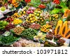 Barcelona Boqueria market worldwide fruits display - stock photo