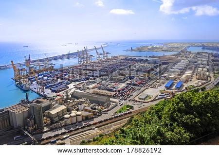 Barcelona cargo port - stock photo