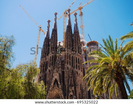 Barcelona, Catalonia, Spain - JUNE 12,2017: Low Angle View Of Sagrada Familia Cathedral