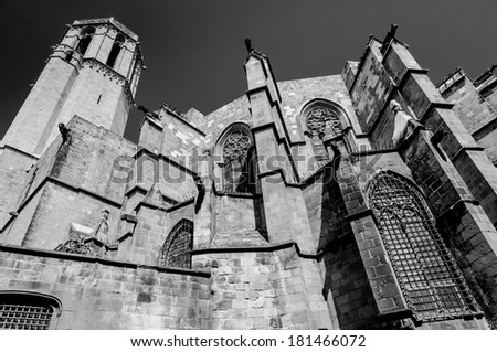 Barcelona Cathedral Santa Eulalia back  walls and tower details in Spain - stock photo