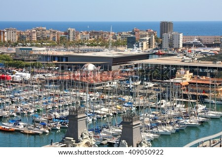 Barcelona city - Port Vell and Barceloneta aerial view - stock photo