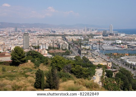Barcelona cityscape. Aerial view seen from Montjuic.
