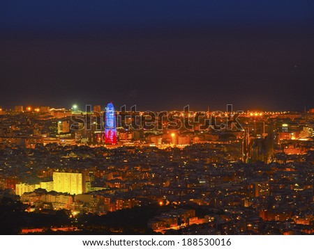 Barcelona Cityscape during the blue hour - view from Tibidabo Mountain, Catalonia, Spain