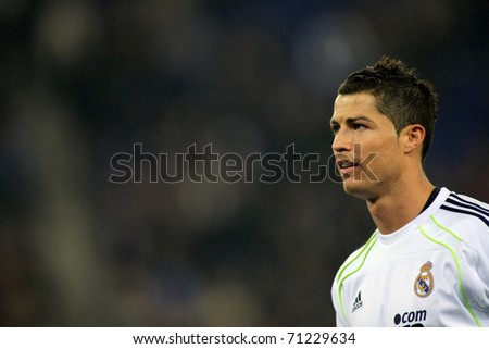 BARCELONA - 13: Cristiano Ronaldo of Real Madrid during a spanish league match between Espanyol and Real Madrid at the Estadi Cornella on February 13, 2011 in Barcelona, Spain - stock photo