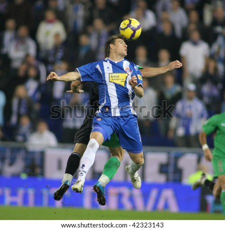 BARCELONA - DEC. 6: Argentinian player Ivan Pillud of RCD Esapnyol in action during a Spanish League match against Santander at the Estadi Cornella-El Prat on December 6, 2009 in Barcelona, Spain