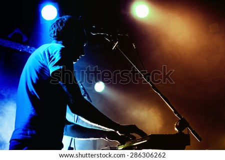 BARCELONA - DEC 12: Caribou (electronic band) performs at Discotheque Razzmatazz on December 12, 2010 in Barcelona, Spain. - stock photo