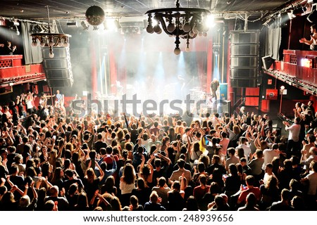BARCELONA - DEC 5: Crowd at the Fuel Fandango (electronic, funk, fusion and flamenco band) concert at Apolo (venue) on December 05, 2014 in Barcelona, Spain. - stock photo