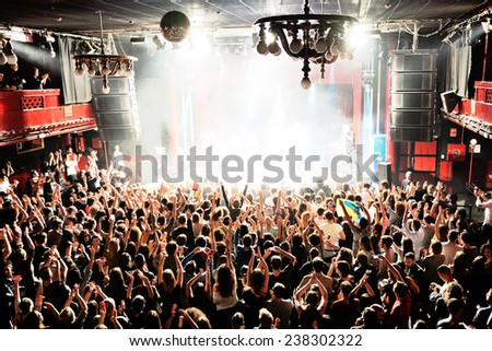 BARCELONA - DEC 05: Crowd in a concert at Apolo (venue) on December 05, 2014 in Barcelona, Spain. - stock photo