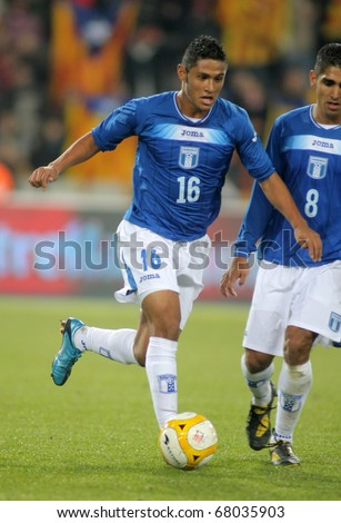 BARCELONA - DEC 28: Honduran player Alexander Lopez in action during the friendly match between Catalonia vs Honduras at Olympic Stadium in Barcelona, Spain. Dec. 28, 2010