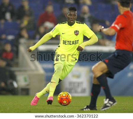 BARCELONA - DEC, 7: Jefferson Lerma of Levante UD during a Spanish League match against RCD Espanyol at the Power8 stadium on December 7, 2015 in Barcelona, Spain - stock photo
