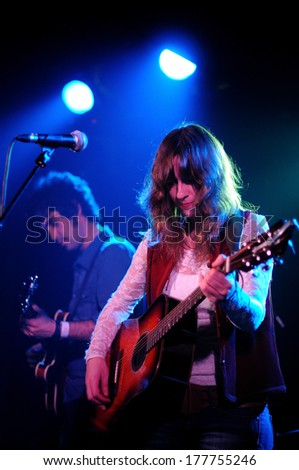 BARCELONA - DEC 2: Tulsa (band from Spain), performs at Apolo stage on December 2, 2010 in Barcelona. - stock photo