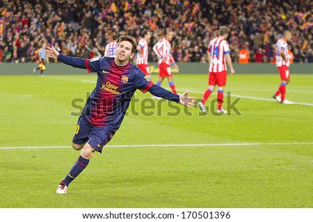 BARCELONA - DECEMBER 16: Lionel Messi celebrating a goal at the Spanish League match between FC Barcelona and Atletico de Madrid, final score 4-1, on December 16, 2012, in Camp Nou, Barcelona, Spain. - stock photo