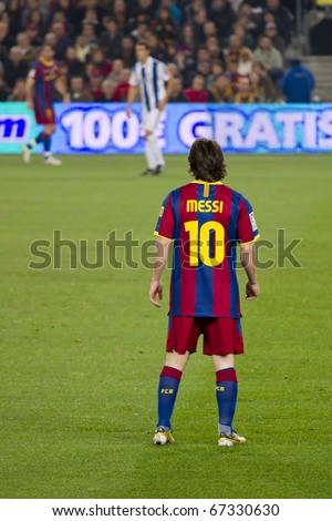 BARCELONA - DECEMBER 13: Nou Camp stadium, FC Barcelona - Real Sociedad, 5 - 0. In the picture, Leo Messi. December 13, 2010 in Barcelona (Spain). - stock photo