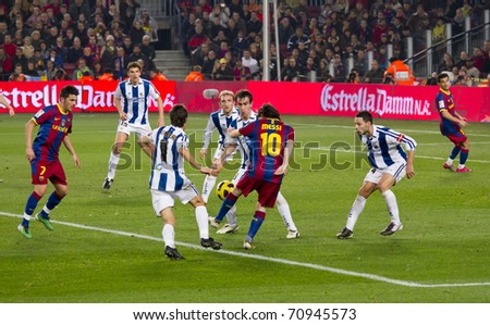BARCELONA - DECEMBER 13: Nou Camp stadium, Spanish Soccer League match: FC Barcelona - Real Sociedad, 5 - 0. In the picture, Leo Messi (10) in action. December 13, 2010 in Barcelona (Spain). - stock photo