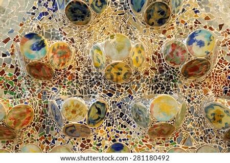 BARCELONA - DECEMBER 23: The house Casa Batllo (mosaic detail) designed by Antoni Gaudi on December 23, 2014 in Barcelona, Spain. - stock photo