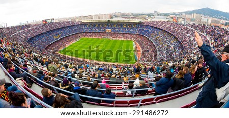BARCELONA - FEB 21: A general view of the Camp Nou Stadium in the football match between Futbol Club Barcelona and Malaga, of the Spanish BBVA League, on February 21, 2015 in Barcelona, Spain. - stock photo