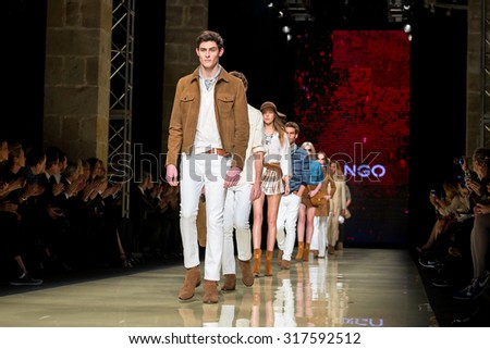 BARCELONA - FEB 2: A model walks the runway for the Mango collection at the 080 Barcelona Fashion Week 2015 Fall Winter on February 2, 2015 in Barcelona, Spain. - stock photo
