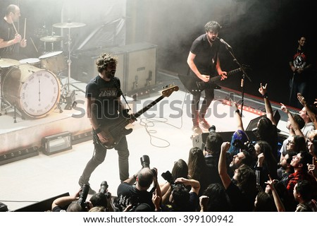 BARCELONA - FEB 13: Berri Txarrak (alternative heavy metal band) live performance at Apolo on February 13, 2015 in Barcelona, Spain. - stock photo