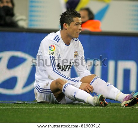 BARCELONA - FEB 13: Cristiano Ronaldo of Real Madrid during a spanish league match between Espanyol and Real Madrid at the Estadi Cornella on February 13, 2011 in Barcelona, Spain - stock photo