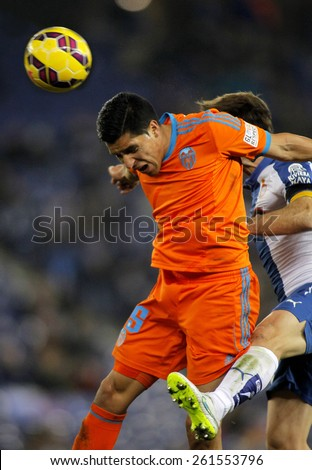 BARCELONA - FEB, 8: Enzo Perez of Valencia CF during spanish League match against RCD Espanyol at the Estadi Cornella on February 8, 2015 in Barcelona, Spain - stock photo