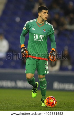 BARCELONA - FEB, 8: Geronimo Rulli of Real Sociedad during a Spanish League match against RCD Espanyol at the Power8 stadium on February 8, 2016 in Barcelona, Spain - stock photo