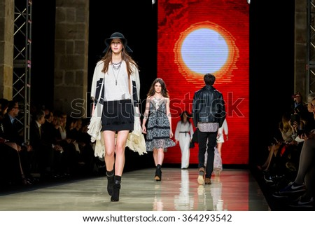 BARCELONA - FEB 2: Jeanne Cadieu (model) walks the runway for the Mango collection at the 080 Barcelona Fashion Week 2015 Fall Winter on February 2, 2015 in Barcelona, Spain.