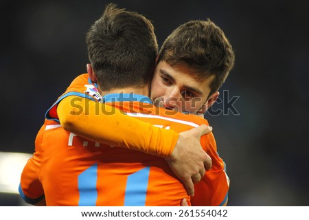 BARCELONA - FEB, 8: Jose Gaya embraces Pablo Piatti of Valencia CF during spanish League match against RCD Espanyol at the Estadi Cornella on February 8, 2015 in Barcelona, Spain - stock photo