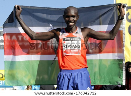 BARCELONA - FEB,2: Kenyan Wilson Kipsang, Current world record holder in the marathon after of his victory in Granollers Half Marathon at Granollers on February 2, 2014 in Barcelona, Spain - stock photo