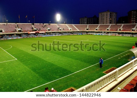 BARCELONA - FEB 7: Mini Estadi Stadium on February 7, 2009 in Barcelona, Spain. The stadium is currently home to FC Barcelona B, FCB's reserve team, and Juvenil A. - stock photo