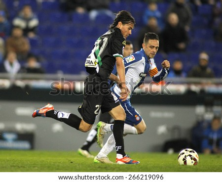 BARCELONA - FEB, 27: Rene Krhin of Cordoba CF during a Spanish League match against RCD Espanyol at the Estadi Cornella on February 27, 2015 in Barcelona, Spain - stock photo