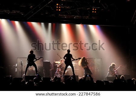 BARCELONA - FEB 5: The Eyes, heavy metal band, live music show at Razzmatazz stage on February 5, 2011 in Barcelona, Spain. - stock photo