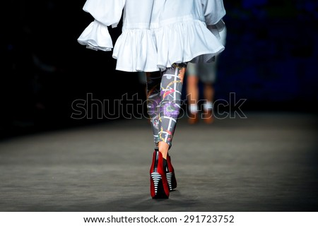 BARCELONA - FEB 2: The legs of a model at the 080 Barcelona Fashion Week 2015 Fall Winter on February 2, 2015 in Barcelona, Spain. - stock photo