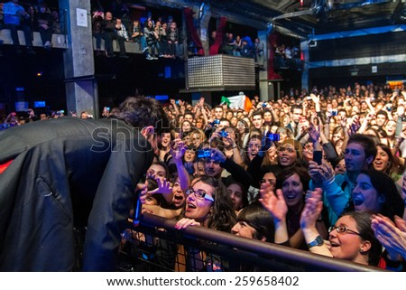 BARCELONA - FEB 12: The Script (band) performs at Razzmatazz on February 12, 2011 in Barcelona, Spain. - stock photo