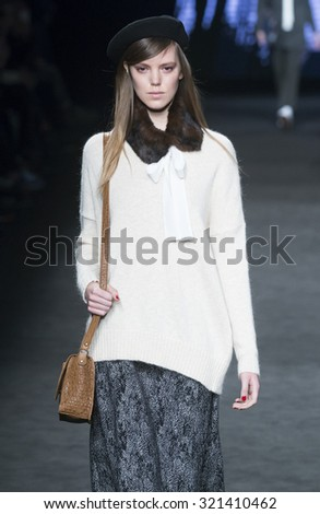 BARCELONA - FEBRUARY 03: a model walks on the TCN catwalk during the 080 Barcelona Fashion runway Fall/Winter 2015 on February 03, 2015 in Barcelona, Spain.  - stock photo