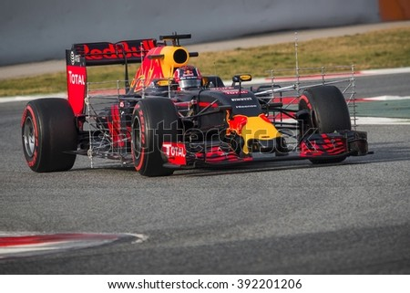 BARCELONA - FEBRUARY 24: Daniil Kvyat of Red Bull Racing F1 Team at Formula One Test Days at Catalunya circuit on February 24, 2016 in Barcelona, Spain. - stock photo