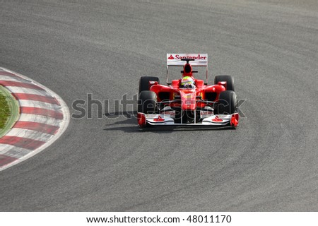 BARCELONA - FEBRUARY 28: Felipe Massa (Ferrari) tests his new car during Formula One Teams Test Days at Catalunya circuit February 28, 2010 in Barcelona.