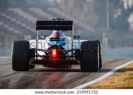 BARCELONA - FEBRUARY 20: Felipe Massa of Williams Martini Racing F1 team at Formula One Test Days at Catalunya circuit on February 20, 2015 in Barcelona, Spain. - stock photo