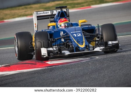 BARCELONA - FEBRUARY 24: Felipe Nasr of Sauber F1 Team at Formula One Test Days at Catalunya circuit on February 24, 2016 in Barcelona, Spain. - stock photo