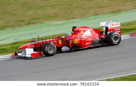 BARCELONA - FEBRUARY 18: Fernando Alonso (Ferrari) driving his F150 car during Formula One Teams Test Days at Catalunya circuit, on February 18, 2011 in Barcelona, Spain.
