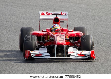 BARCELONA - FEBRUARY 18: Fernando Alonso (Ferrari) tests his F1 car during Formula 1 Teams Test Days at Catalunya circuit  on February 18, 2011 in Barcelona, Spain.