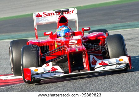BARCELONA - FEBRUARY 21: Fernando Alonso of Ferrari F1 team races during Formula One Teams Test Days at Catalunya circuit on February 21, 2012 in Barcelona, Spain.