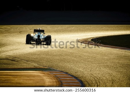 BARCELONA - FEBRUARY 20: Formula One car on race track at Formula One Test Days at Catalunya circuit on February 20, 2015 in Barcelona, Spain. - stock photo