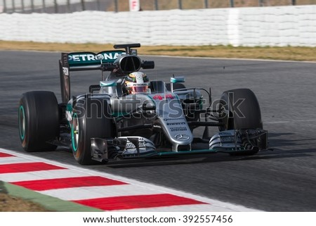 BARCELONA - FEBRUARY 25: Lewis Hamilton of Mercedes AMG F1 Team at Formula One Test Days at Catalunya circuit on February 25, 2016 in Barcelona, Spain. - stock photo
