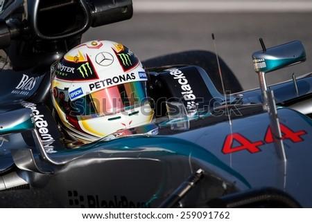 BARCELONA - FEBRUARY 20: Lewis Hamilton of Mercedes AMG Petronas F1 team at Formula One Test Days at Catalunya circuit on February 20, 2015 in Barcelona, Spain. - stock photo