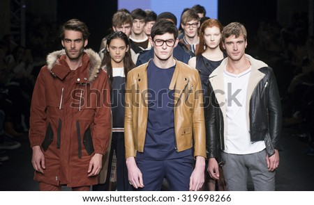 BARCELONA - FEBRUARY 02: modesl walking on the Pablo Erroz catwalk during the 080 Barcelona Fashion runway Fall/Winter 2015 on February 02, 2015 in Barcelona, Spain.  - stock photo