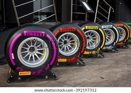 BARCELONA - FEBRUARY 24: Range of Pirelli tyres for 2016 Formula One season at Formula One Test Days at Catalunya circuit on February 24, 2016 in Barcelona, Spain. - stock photo