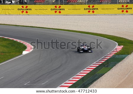 BARCELONA - FEBRUARY 28: Rubens Barrichello (Williams) tests his new car during Formula One Teams Test Days at Catalunya circuit February 28, 2010 in Barcelona.