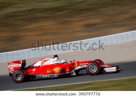 BARCELONA - FEBRUARY 23: Sebastian Vettel of Scuderia Ferrari F1 Team at Formula One Test Days at Catalunya circuit on February 23, 2016 in Barcelona, Spain. - stock photo