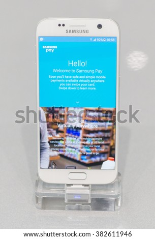 BARCELONA - FEBRUARY 24: the new Samsung Galaxy S7 on the stand of the Mobile World Congress 2016 on February 24, 2016, Barcelona, Spain.  - stock photo